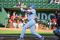 Scott De Jong (50) of the Ogden Raptors at bat against the Idaho Falls Chukars in Pioneer League action at Lindquist Field on June 23, 2015 in Ogden, Utah. Idaho Falls beat the Raptors 9-6.(Stephen Smith/Four Seam Images)