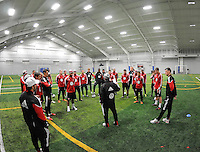 DC United players and coaches at the first official training session of the 2011 MLS season.  At Greenbelt Sportsplex, Friday January 28, 2011.