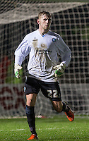 Defender Jason McCarthy of Wycombe Wanderers as he wears the keepers shirt during the Sky Bet League 2 match between Wycombe Wanderers and Morecambe at Adams Park, High Wycombe, England on 2 January 2016. Photo by Andy Rowland / PRiME Media Images