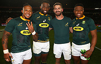 Elton Jantjies of South Africa with Siya Kolisi (captain) of South Africa -Willie le Roux of South Africa Aphiwe Dyantyi of South Africaduring the 2018 Castle Lager Incoming Series 1st Test match between South Africa and England at Emirates Airline Park,<br /> Johannesburg.South Africa. 09,06,2018 Photo by (Steve Haag Sports)