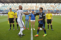 San Jose, CA - Monday July 10, 2017: Jelle Van Damme, Chris Wondolowski prior to a U.S. Open Cup quarterfinal match between the San Jose Earthquakes and the Los Angeles Galaxy at Avaya Stadium.