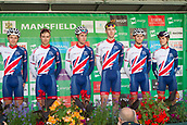 6th September 2017, Mansfield, England; OVO Energy Tour of Britain Cycling; Stage 4, Mansfield to Newark-On-Trent;  The Great Britain - GBR team pose for photos after registration sign-in at Mansfield