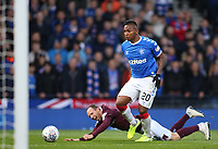 3rd November 2019; Hampden Park, Glasgow, Scotland; Scottish League Cup Football, Rangers versus Heart of Midlothian; Alfredo Morelos of Rangers tackles Aidy White of Heart of Midlothian in the box - Editorial Use