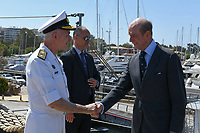 Pictured: Prince Edward (R) is greeted. Saturday 18 May 2019<br /> Re: Prince Edward, Duke of Kent visits cruiser Georgios Averof at Palaio Faliro, Athens, Greece