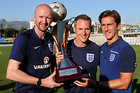 From left to right, England U18 Physiotherapist, Danny Murphy, England U18 Fitness Coach, Mark Armitage and England U18 Doctor, Daniel Broman celebrate with the Tournoi Maurice Revello Trophy after the match during England Under-18 vs Ivory Coast Under-20, Toulon Tournament Final Football at Stade de Lattre-de-Tassigny on 10th June 2017