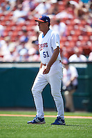 Buffalo Bisons pitching coach Randy St. Claire (51) walks to the mound during a game against the Columbus Clippers on July 19, 2015 at Coca-Cola Field in Buffalo, New York.  Buffalo defeated Columbus 4-3 in twelve innings.  (Mike Janes/Four Seam Images)