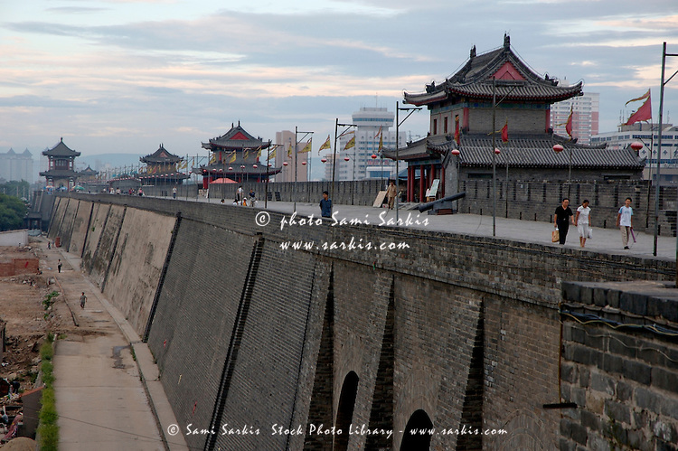 South Gate pavilion along the ancient Fortifications of Xi'an, Xi'an, Shaanxi, China.