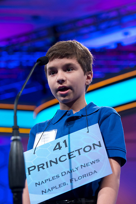 Speller 41 Princeton Salvatore Ballarino competes in the preliminary rounds of the Scripps National Spelling Bee at the Gaylord National Resort and Convention Center in National Habor, Md., on Wednesday,  May 30, 2012. Photo by Bill Clark