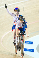 Picture by Alex Whitehead/SWpix.com - 02/03/2017 - Cycling - UCI Para-cycling Track World Championships - Velo Sports Center, Los Angeles, USA - Great Britain's Corrine Hall and Sophie Thornhill celebrate winning Gold in the Women's B 3 km Individual Pursuit final.