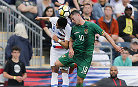 Chester, PA - Monday May 28, 2018: Joe Corona, Fernando Saucedo during an international friendly match between the men's national teams of the United States (USA) and Bolivia (BOL) at Talen Energy Stadium.