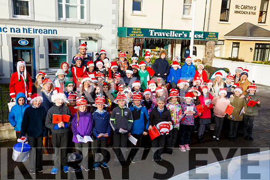 Pupils from Scoil Saidhbhín, carol singing on the streets of Cahersiveen on Friday.