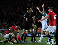 Referee Romain Poite awards a late penalty to the All Blacks during the 2017 DHL Lions Series rugby union 3rd test match between the NZ All Blacks and British & Irish Lions at Eden Park in Auckland, New Zealand on Saturday, 8 July 2017. Photo: Dave Lintott / lintottphoto.co.nz