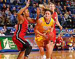 BROOKINGS, SD - NOVEMBER 12:  Kerri Young #10 from South Dakota State University tries to make a move against Donshel Beck #31 from Southern Illinois Edwardsville at Frost Arena November 13, 2016 in Brookings, South Dakota. (Photo by Dave Eggen/Inertia)
