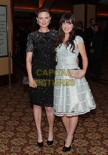 EMILY DESCHANEL & ZOOEY DESCHANEL.24th Annual American Society of Cinematographers Awards  held at The Hyatt Regency Century Plaza Hotel, Century City, California, USA,.27th  February 2010..Arrivals full length white pale blue grey gray cage dress bow sash clutch bag silk layered skirt black beaded patterned pattern red blue green sisters family  flowers flower sparkly shoes .CAP/ADM/TC.©T.Conrad/Admedia/Capital Pictures
