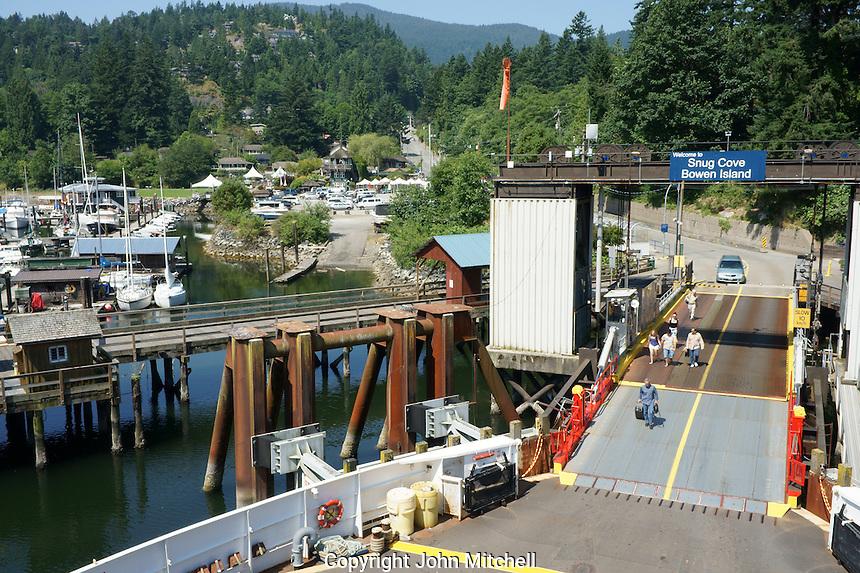 People boarding the ferry in Snug Cove, Bowen Island, British Columbia, Canada