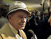 Washington Redskins owner Jack Kent Cooke is interviewed in his team's locker room following his team's 24 -23 victory over the San Francisco Forty-Niners in the NFC Championship Game at RFK Stadium in Washington, D.C. on January 8, 1984.<br /> Credit: Arnie Sachs / CNP