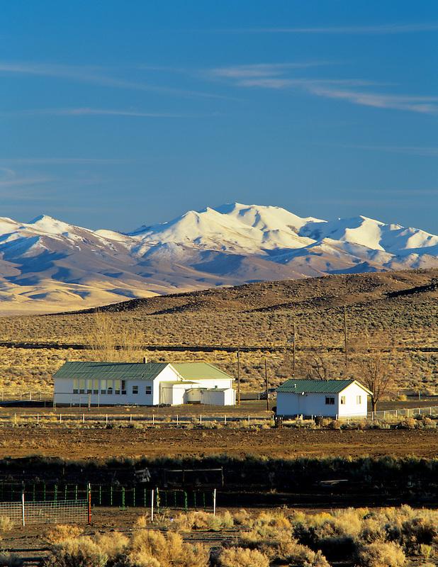 Fields School with Trout Creek Mountains, Oregon.