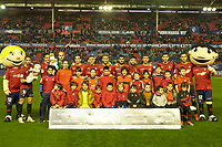 Titular team of the CA Osasuna before the Spanish football of La Liga 123, match between CA Osasuna and AD Alcorcón at the Sadar stadium, in Pamplona (Navarra), Spain, on Sunday, January 6, 2019.