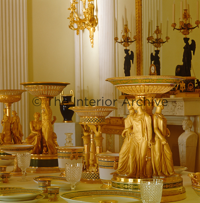 The Golden Service, made in the St Petersburg Imperial Porcelain Factory, graces the dining room at Pavlovsk