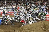 01/22/11 Los Angeles, CA:  Riders through the turn during the 1st ever AMA Supercross held at Dodger Stadium.