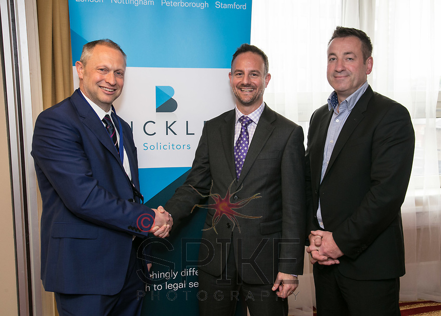 Nottingham City Business Club President Mark Deakin, James Coppinger of sponsors Buckles and speaker Mike Sassi of the Nottingham Post