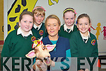 Scartaglen NS students Julianne O'Connor, Katie Cook, Ella Kerin and Lorraine Hanrahan meets Mary O'Donoghue and Harold the Girraff during the Kerry Life Education Centre visit the school on Wednesday