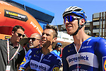 Philippe Gilbert and Tim Declercq (BEL) Deceuninck-Quick Step at sign on before the start of Stage 5 of La Vuelta 2019 running 170.7km from L'Eliana to Observatorio Astrofisico de Javalambre, Spain. 28th August 2019.<br /> Picture: Eoin Clarke | Cyclefile<br /> <br /> All photos usage must carry mandatory copyright credit (© Cyclefile | Eoin Clarke)