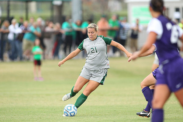 Denton, TX - SEPTEMBER 16: Lynda Hercules #21 of the North Texas Mean Green soccer in action against the Texas Christian University Horned Frogs at the Mean Green Village Soccer Field University in Denton on September 16, 2012 in Denton, Texas. (Photo by Rick Yeatts)