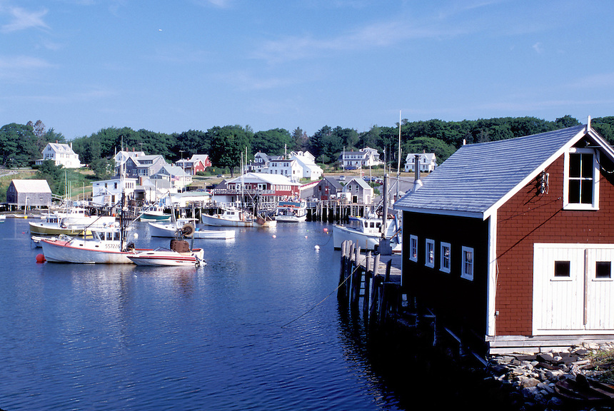 New Harbor, Maine, ME, Pemaquid, Fishing boats in the harbor.