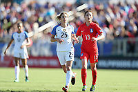Cary, NC - Sunday October 22, 2017: McCall Zerboni and Ji Sunmi during an International friendly match between the Women's National teams of the United States (USA) and South Korea (KOR) at Sahlen's Stadium at WakeMed Soccer Park. The U.S. won the game 6-0.