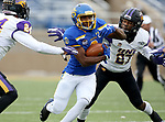 BROOKINGS, SD - NOVEMBER 16: Devin Blakley #3 of the South Dakota State Jackrabbits looks to slip the tackle of Austin Evans #27 of the Northern Iowa Panthers during their game Saturday afternoon at Dana J. Dykhouse Stadium in Brookings, SD. (Photo by Dave Eggen/Inertia)