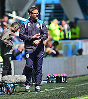 Huddersfield Town manager David Wagner shouts instructions to his team from the dug-out<br /> <br /> Photographer Andrew Vaughan/CameraSport<br /> <br /> The EFL Sky Bet Championship Play-Off Semi Final First Leg - Huddersfield Town v Sheffield Wednesday - Saturday 13th May 2017 - The John Smith's Stadium - Huddersfield<br /> <br /> World Copyright &copy; 2017 CameraSport. All rights reserved. 43 Linden Ave. Countesthorpe. Leicester. England. LE8 5PG - Tel: +44 (0) 116 277 4147 - admin@camerasport.com - www.camerasport.com