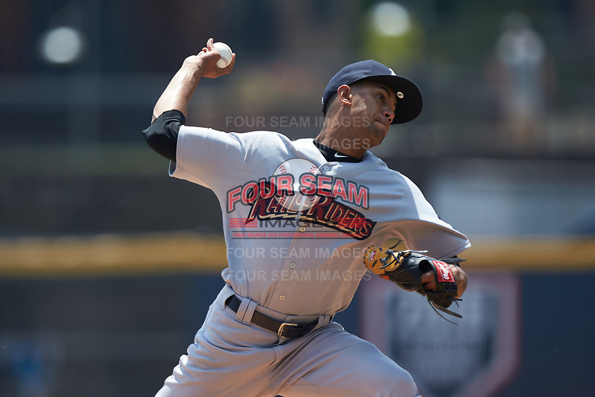 Scranton/Wilkes-Barre RailRiders starting pitcher Adonis Rosa (23) in action against the Gwinnett Stripers at Coolray Field on August 18, 2019 in Lawrenceville, Georgia. The RailRiders defeated the Stripers 9-3. (Brian Westerholt/Four Seam Images)