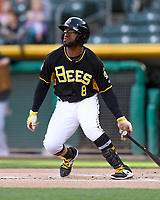 Eric Young Jr. (8) of the Salt Lake Bees follows through on his swing against the Sacramento River Cats during the Pacific Coast League game at Smith's Ballpark on April 13, 2017 in Salt Lake City, Utah. Salt Lake defeated Sacramento 4-3. (Stephen Smith/Four Seam Images)