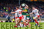 Sean O'Shea  Kerry in action against Kieran McGeary Tyrone during the Allianz Football League Division 1 Round 1 match between Kerry and Tyrone at Fitzgerald Stadium, Killarney on Sunday.