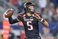 Texas Tech quarterback Patrick Mahomes (5) looks to throw a pass during an NCAA Football game, Saturday, November 29, 2014 in Arlington, Tex. Baylor defeated Texas Tech 48-46. (Mo Khursheed/TFV Media via AP Images)
