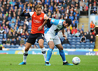 Blackburn Rovers' Greg Cunningham under pressure from Luton Town's Harry Cornick<br /> <br /> Photographer Kevin Barnes/CameraSport<br /> <br /> The EFL Sky Bet Championship - Blackburn Rovers v Luton Town - Saturday 28th September 2019 - Ewood Park - Blackburn<br /> <br /> World Copyright © 2019 CameraSport. All rights reserved. 43 Linden Ave. Countesthorpe. Leicester. England. LE8 5PG - Tel: +44 (0) 116 277 4147 - admin@camerasport.com - www.camerasport.com