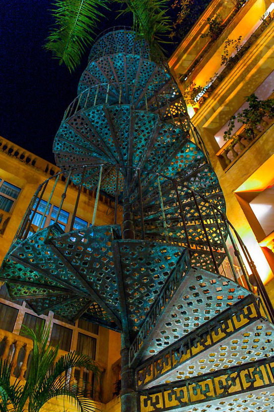 The winding outdoor staircase at one of the many beautiful hotels in Cartagena, Colombia.