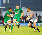 9th September 2017, Galway Sportsground, Galway, Ireland; Guinness Pro14 Rugby, Connacht versus Southern Kings; Bundee Aki  (Connacht) holds off a challenge from Schalk Ferreira (Southern Kings)