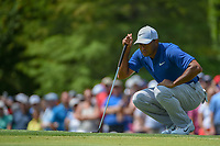 Tiger Woods (USA) looks over his putt on 8 during 3rd round of the 100th PGA Championship at Bellerive Country Club, St. Louis, Missouri. 8/11/2018.<br /> Picture: Golffile | Ken Murray<br /> <br /> All photo usage must carry mandatory copyright credit (&copy; Golffile | Ken Murray)