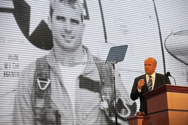 Fred Thompson addresses the crowd as John McCain appears on the large video screen on the second day of the Republican National Convention at the XCel Center in Saint Paul, Minnesota on September 2, 2008.