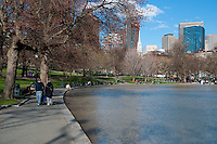 The Boston Common Frog Pond and people walking in springtime