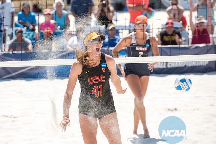 GULF SHORES, AL - MAY 07: Terese Cannon (41) of the University of Southern California team celebrates winning a point against Pepperdine University during the Division I Women's Beach Volleyball Championship held at Gulf Place on May 7, 2017 in Gulf Shores, Alabama. The University of Southern California defeated Pepperdine 3-2 to claim the national championship. (Photo by Stephen Nowland/NCAA Photos via Getty Images)