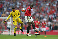 Manchester United's Romelu Lukaku gets to the ball before Tottenham Hotspur's Michel Vorm<br /> <br /> Photographer Rob Newell/CameraSport<br /> <br /> Emirates FA Cup - Emirates FA Cup Semi Final - Manchester United v Tottenham Hotspur - Saturday 21st April 2018 - Wembley Stadium - London<br />  <br /> World Copyright &copy; 2018 CameraSport. All rights reserved. 43 Linden Ave. Countesthorpe. Leicester. England. LE8 5PG - Tel: +44 (0) 116 277 4147 - admin@camerasport.com - www.camerasport.com