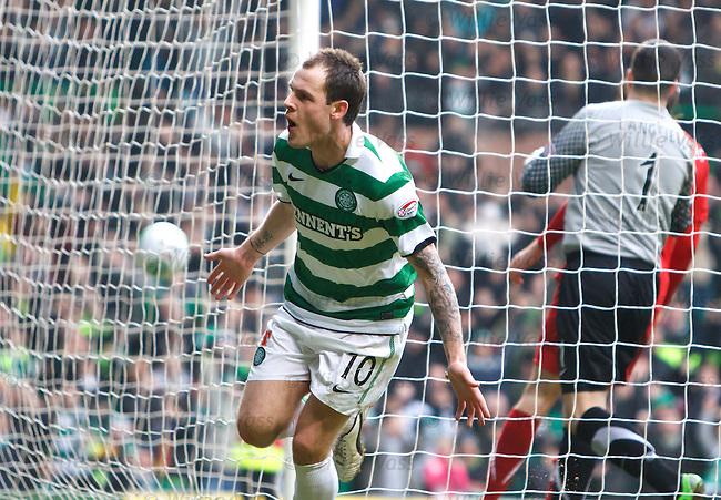 Anthony Stokes celebrateshis goal for Celtic