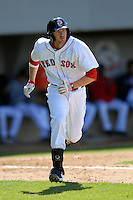 Infielder Drew Sutton #40 of the Pawtucket Red Sox during a game versus the Buffalo Bisons on 4-17-11 at McCoy Stadium in Pawtucket, Rhode Island. Photo by Ken Babbitt /Four Seam Images