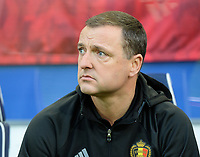 20170919 - LEUVEN , BELGIUM : Belgian head coach Ives Serneels pictured during the female soccer game between the Belgian Red Flames and Moldova , the first game in the qualificaton for the World Championship qualification round in group 6 for France 2019, Tuesday 19 th September 2017 at OHL Stadion Den Dreef in Leuven , Belgium. PHOTO SPORTPIX.BE | BELGA | DAVID CATRY