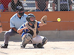Wildcats' Lauren Lesniak works behind the plate against College of Southern Nevada at Edmonds Sports Complex Carson City, Nev., on Saturday, May 2, 2015.<br /> Photo by Cathleen Allison