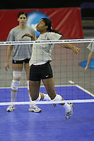 15 December 2007: Stanford Cardinal Janet Okogbaa during Stanford's 2007 NCAA Division I Women's Volleyball Final Four closed practice at ARCO Arena in Sacramento, CA.