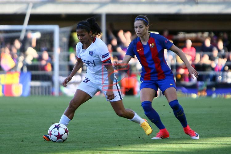 UEFA Women's Champions League 2016/2017.<br /> Semifinals.<br /> FC Barcelona vs Paris Saint Germain: 1-3.<br /> Shirley Cruz vs Vicky Losada.